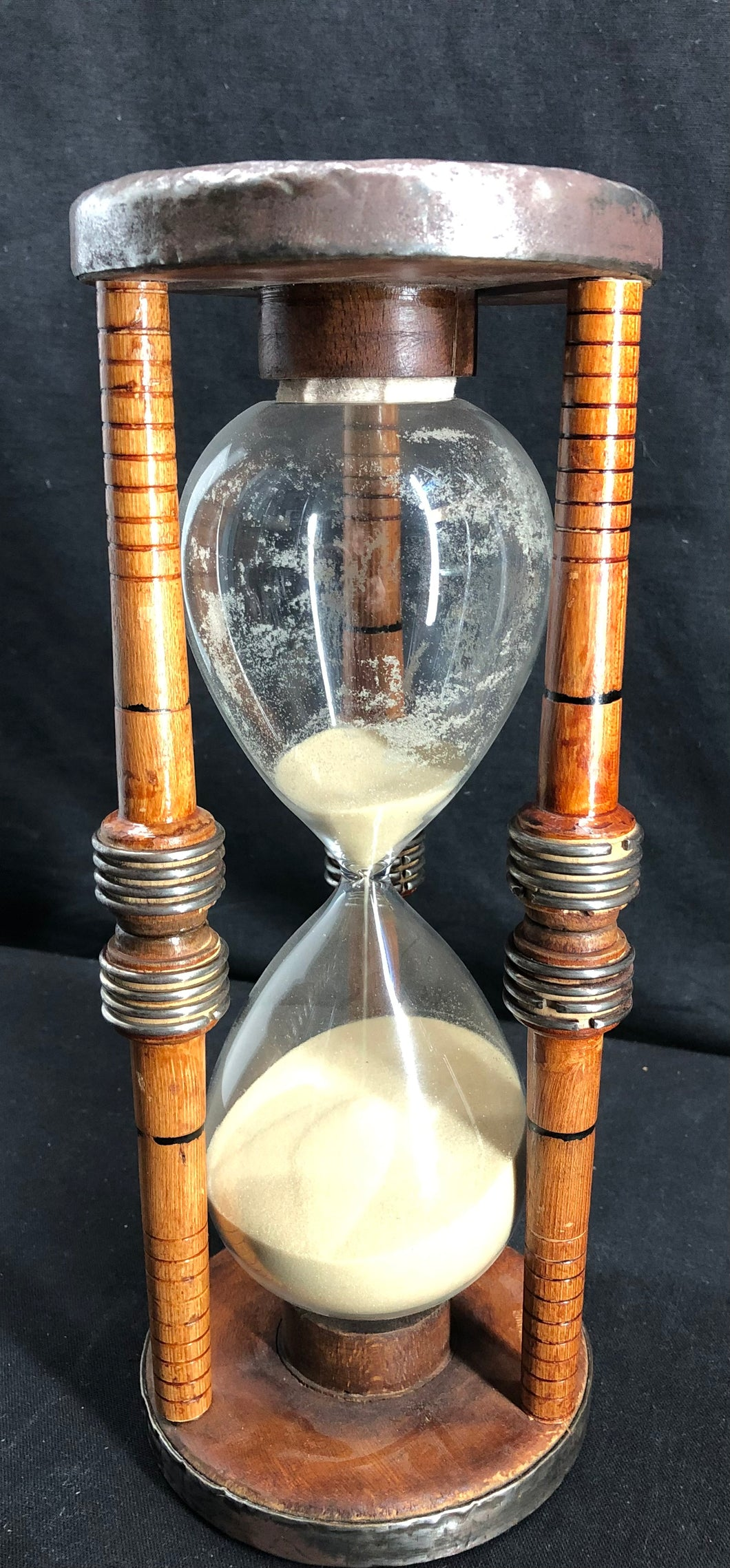 "12"" Hourglass, Wood//Metal, Signed, Free Shipping"