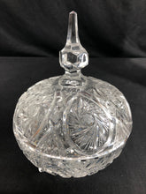 Load image into Gallery viewer, Lead Crystal Carved, Footed, Covered Candy Dish