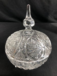 Lead Crystal Carved, Footed, Covered Candy Dish