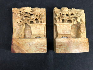 Carved Stone Book Ends
