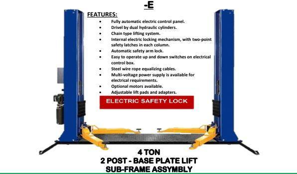 2 Post Lift 4 Ton Sub Frame Assembly - Cape Town Auto Spares