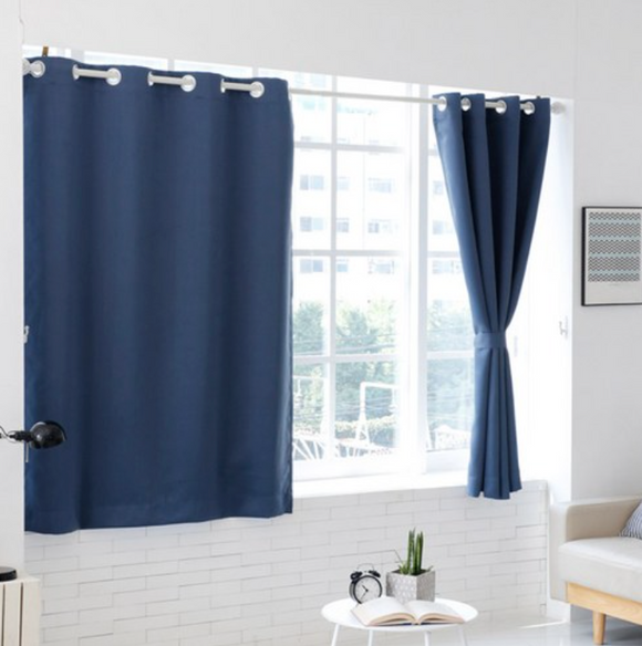 [LINROOM] Solid Black Out Curtain Window 2pcs