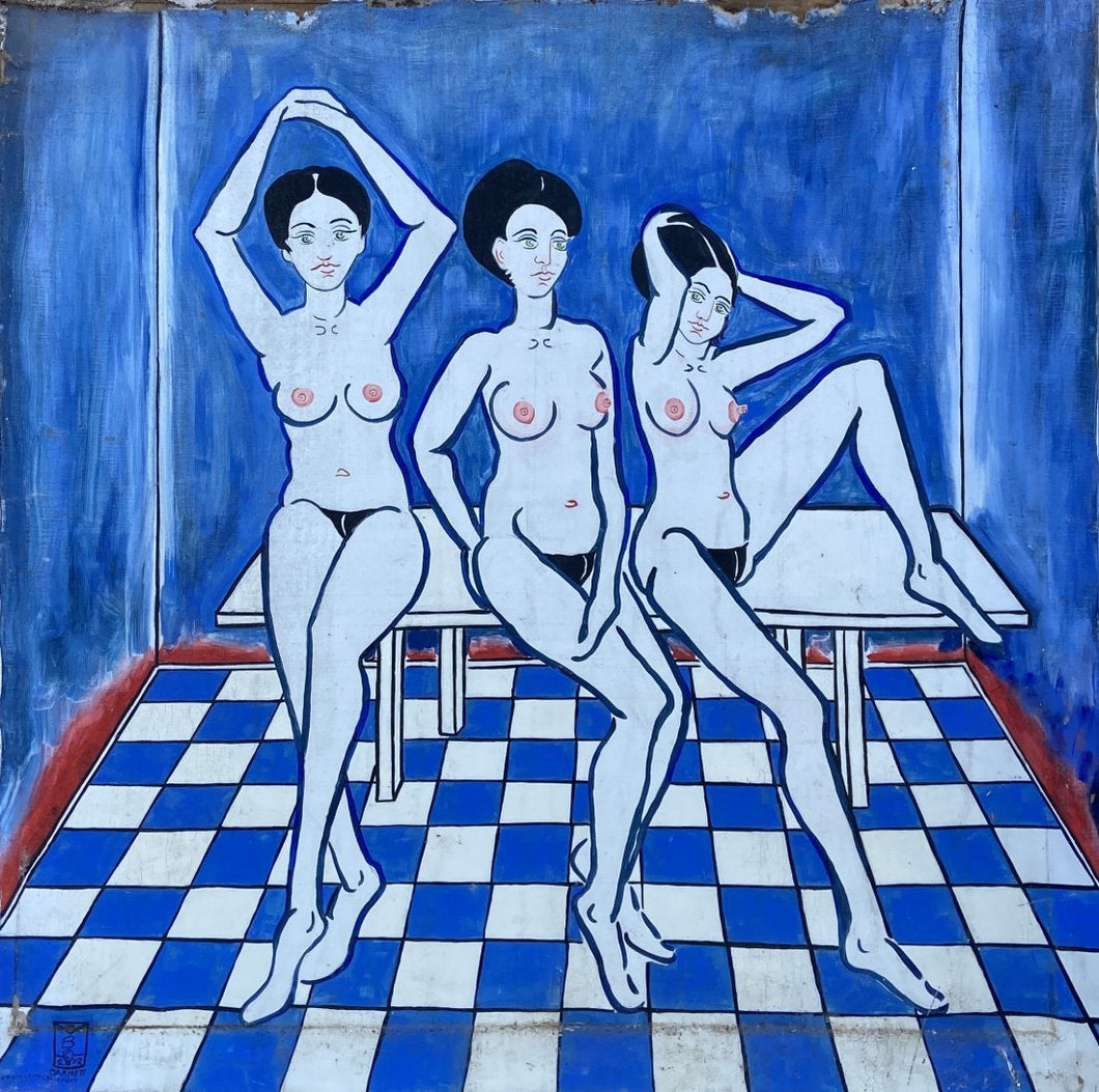 Three Girls on Checkerboard