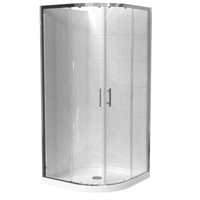Cezanne Round 2 Sided Sliding Door Tiled Wall Shower