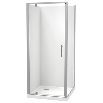Millennium Square 2 Sided Pivot Door Acrylic Wall Shower
