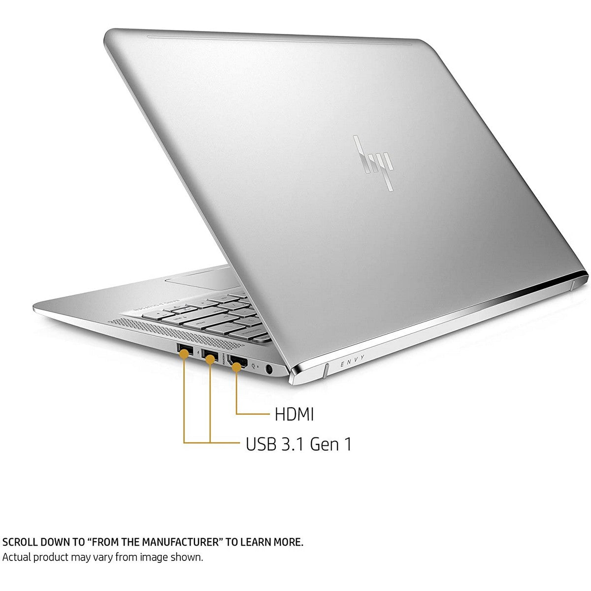 HP Envy 13T Laptop 13.3'' FHD IPS , Intel Core i7 i7-10510U 1.8GHz up to 4.9GHz 8 MB cache, 16GB RAM, GeForce MX250 2GB GPU, 512GB SSD, Touchscreen, Windows 10 Pro, English Keyboard, Natural Silver