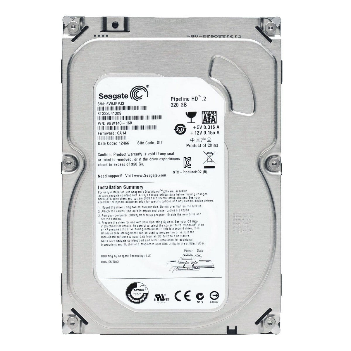 Used Seagate Pipeline 320GB HDD, 5900rpm / ST3320310CS