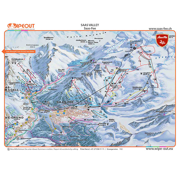 Saas Valley Wipeout Piste Map