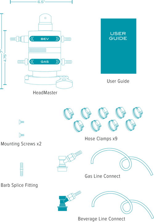 User Guide, Hose Clamps x4, Gas Line Connect, Beverage Line Connect