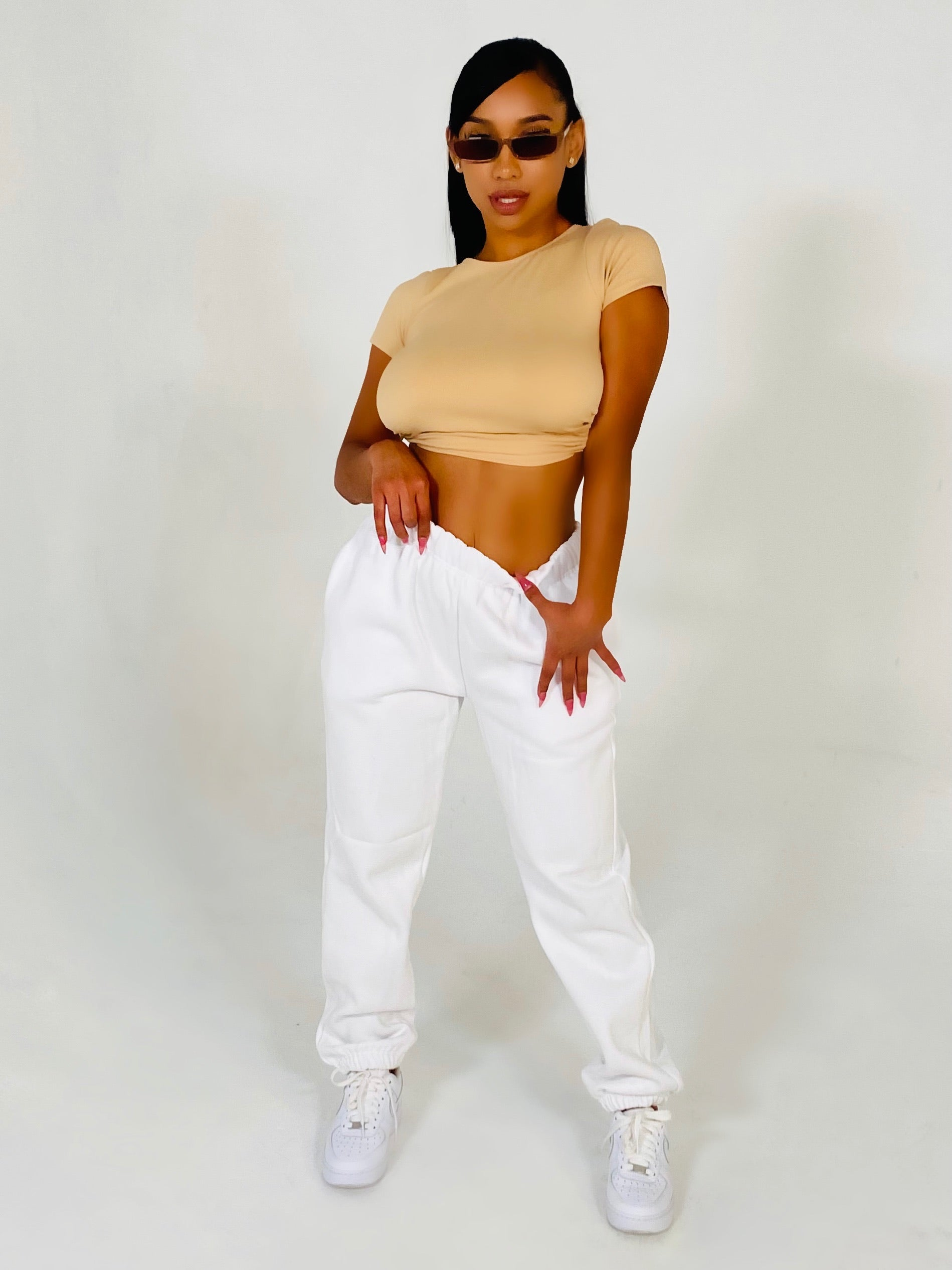 """ON CHILL"" JOGGERS (WHITE)"