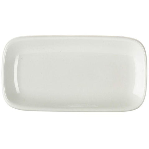 Porcelain Rounded Rectangular Plate 19.5 x 10cm/7.75 x 4""