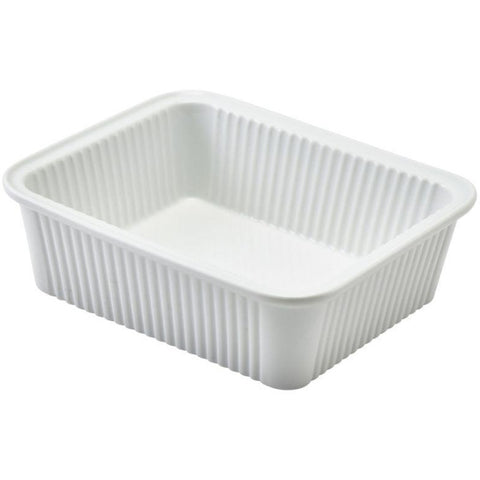 Porcelain Fluted Rectangular Dish 16 x 13cm/6.25 x 5""