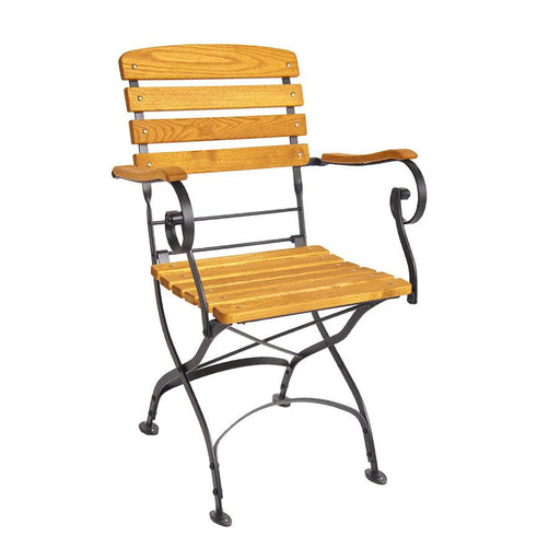 Beautifully crafted, wrought iron folding arm chair A firm favourite for pubs, garden centres, caf's and boutique bistros. Competitive price, very sturdy and folds flat for easy storage