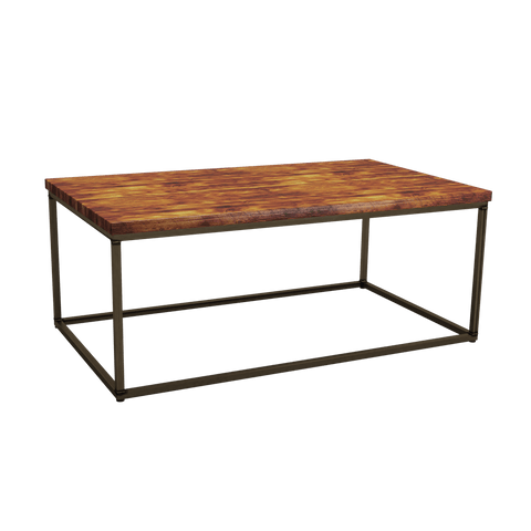 Contemporary steel square coffee table base                Finished in a raw/clear powder coat, combined with a rustic pine table top