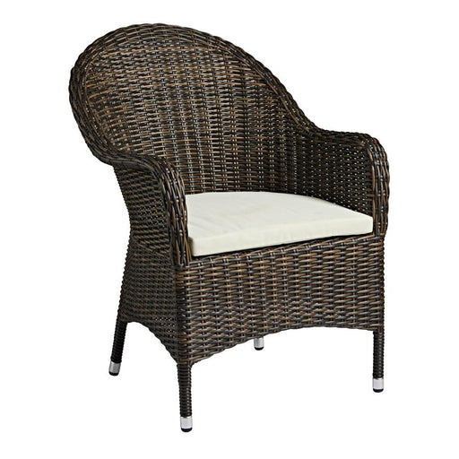 Comfortable outdoor chair A brown weave high-backed armchair that comes with a cream, stain-resistant cushion for maximum comfort. For outdoor use, this set is weather resistant and will not rust, fade or rot.