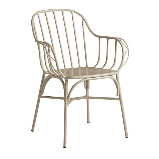 Aluminium arm chair Retro aluminium arm chair with rustic appeal. Available in a range of neutral colours. Absolutely will not rust!