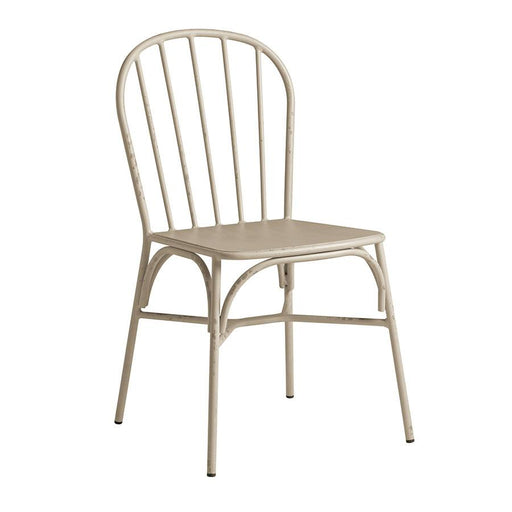 Aluminium side chair Retro aluminium side chair with rustic appeal. Available in a range of neutral colours. Absolutely will not rust!