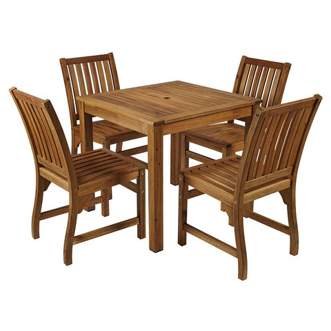 This classic outdoor square table and chair set is manufactured from solid Acacia wood                      1x HARDY solid wood table 4x HARDY side chairs          Self assembly is required
