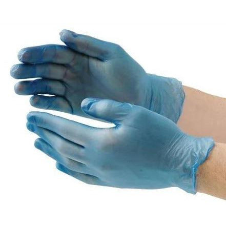 Medium Food Safe Blue Vinyl Powder & Latex Free Gloves (Pack of 100)