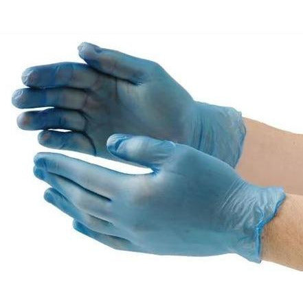 Large Food Safe Blue Vinyl Powder & Latex Free Gloves (Pack of 100)