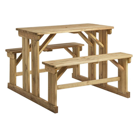 Manufactured from solid Spruce wood, pressure treated with a high quality wood preserver to ensure maximum durability. Also available in a 8-seater version. Perfect for pub, restaurant and bistro gardens.