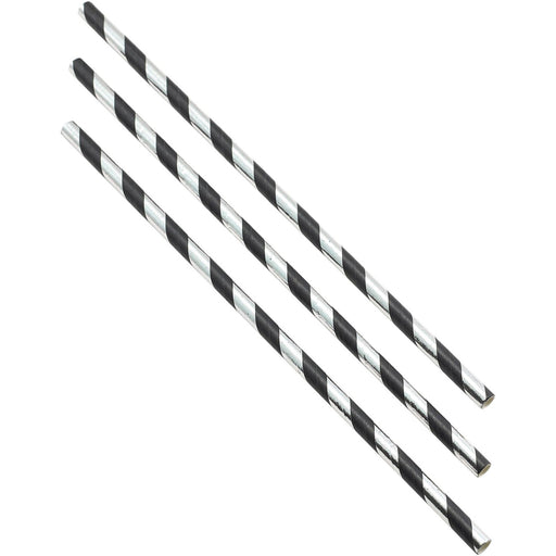 Paper Straws Black and Silver Stripes 20cm (500pcs)