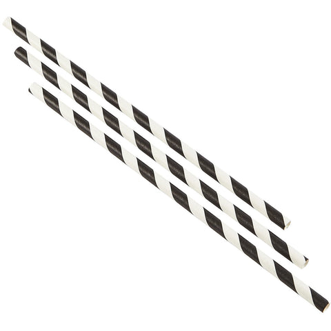 Paper Straws Black and White Stripes 20cm (500pcs)