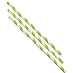 Paper Straws Green and White Stripes 20cm (500pcs)