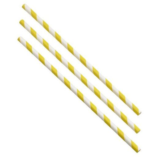 Paper Straws Yellow and White Stripes 20cm (500pcs)