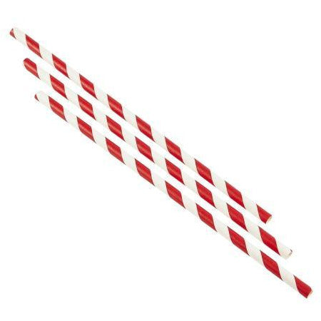 Paper Straws Red and White Stripes 23cm (250pcs)