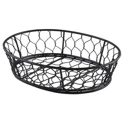 Oval Black Wire Basket 24 x 18 x 6cm