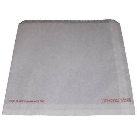 White Greaseproof Bag (Printed 'Thank You') 8.5X8.5 215X215mm