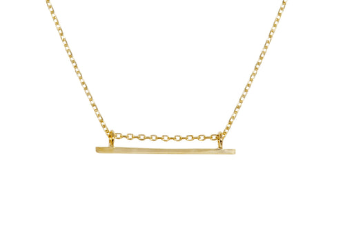 minimal gold bar pendant necklace