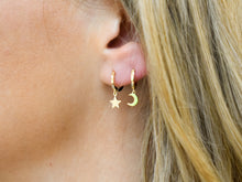 Load image into Gallery viewer, Stars and Moon Huggie Hoop Earrings