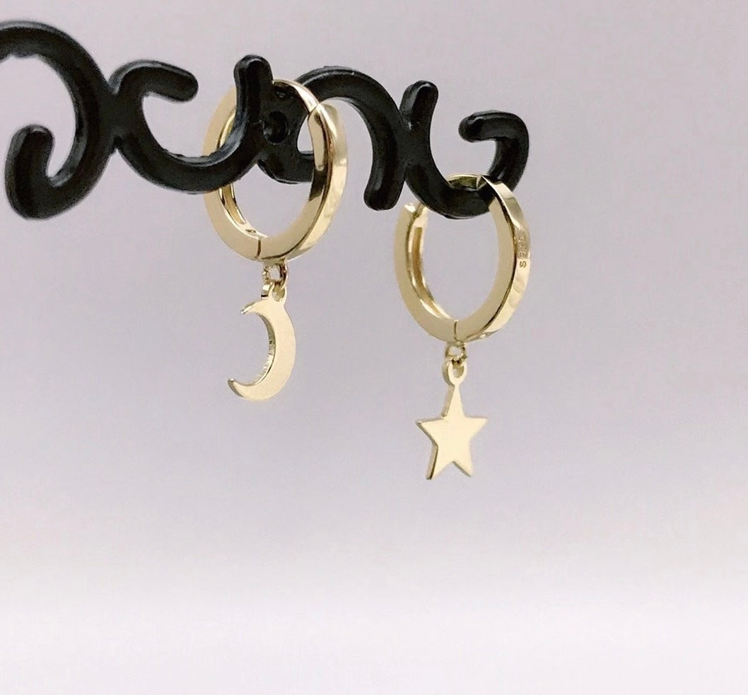 Stars and Moon Huggie Hoop Earrings