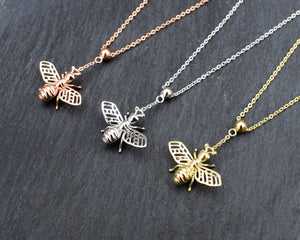 bumble bee pedant necklace sterling silver rose gold and gold