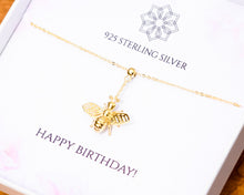 Load image into Gallery viewer, Bumble bee pendant necklace | Solid silver gold plated