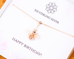 Bumble bee pendant necklace | Solid silver gold plated