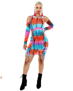 Hotmiamistyle Sexy Club Dress Jamaica Tie Dye Rasta (Plus Size)