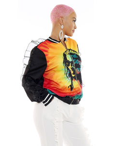 Womens Jamaican Rasta Ruffled Long Sleeve Jacket