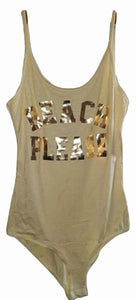 BEACH PLEASE Printed Bodysuit with Bottom Clip