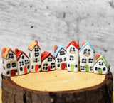 Miniature ceramic village , shadow box , terrarium cottage, house set