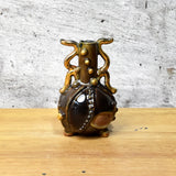 ornate miniature abstract bottle vase  - hand crafted stoneware clay one of a kind by Anita Reay snuff bottle, oil diffuser - 24k gold trim