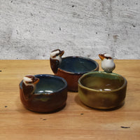 Miniature kookaburra dish, ring dish or tealight candle holder, Australian pottery by Anita Reay - Randomly selected