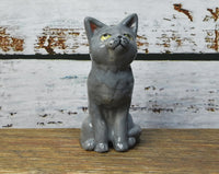 Grey cat pie bird ceramic one of a kind hand crafted by Anita Reay AnitaReayArt piebird Russian blue cat figurine