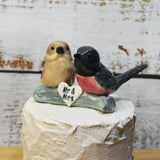 Pink Robbin Cake topper Australian pottery by Anita Reay Woodland wedding cake topper  bird cake topper  ceramic Robin garden wedding