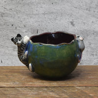 Small planter bowl with hand sculpted cat and mouse figurines by Anita Reay