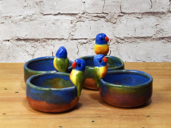 1 Miniature Rainbow Lorikeet parrot dish, ring dish or tealight candle holder, Australian pottery by Anita Reay - Randomly selected