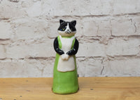 Tuxedo cat in a dress pie bird ceramic one of a kind hand crafted by Anita Reay AnitaReayArt piebird anthropomorphic  black cat figurine