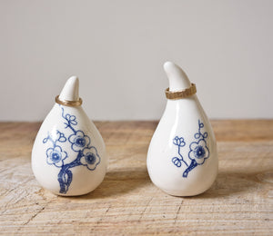 Ring Holders Pair - White with Cobalt Plum Flowers